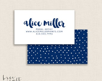 NAVY CONTRAST - Double Sided - DIY Printable Business Card Template - Customizable - Navy and White - Polka Dots Pattern