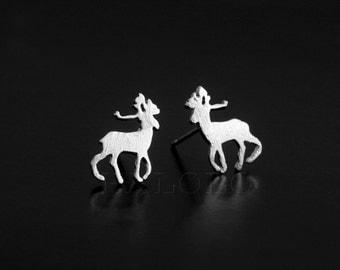 Deer Silvery Stud Earring Post Finding (ET033B)