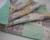 Deer Trekker Full Bodied Minky Comforter Blanket Mint Gold Gray You Choose Size and Minky Color MADE TO ORDER