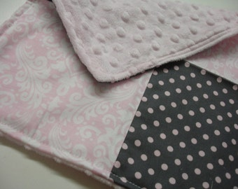 Pink and Gray Damask and Dots Baby Burp Cloth with Minky 12 X 12 READY TO SHIP