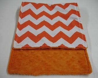 Orange Medium Chevron Baby Burp Cloth with Minky On Sale
