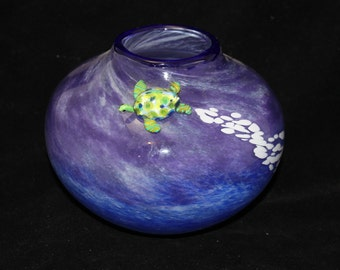 Hand Blown Glass Vessel With Lampworked Sea Turtle A Collaboration by Alison Hoagland and Will Stokes