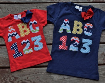 "BACK TO SCHOOL ""Cool School"" collection Girls chevron/dots A B C 1 2 3   tee  in sizes 6-12-18-24 mth 2-3-4-5-6-7-8-10"
