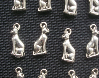 6 Egyptian Cat Charms Silver TOne Metal 20mm