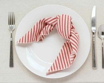 Striped Ticking Cloth Napkins, set of four,  by Dot and Army