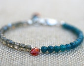 Labradorite, Teal Blue Apatite, Mexican Fire Opal Gemstone Handmade Sterling Silver Bracelet, Multi Gemstone Jewelry