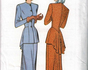 OOP Butterick 6759 Retro Peplum Top and Skirt Pattern 1948 Sizes 18-20-22 Reissue GORGEOUS
