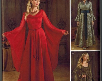 Game of Thrones Inspired Dress Sewing Pattern Simplicity 1045 UNCUT Sizes 6-8-10-12 Gown Cersei or Red Lady Melisandre