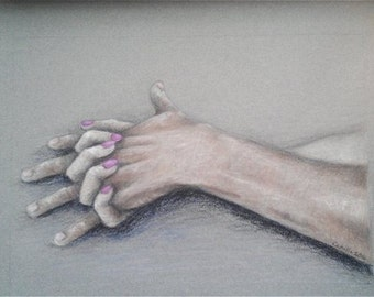 "Drawing Hands Holding Love Realism - Original Drawing 12"" x 16"" READY to SHIP"