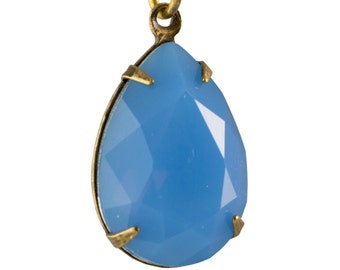 Blue Opal Glass Teardrop Stones 1 Loop Brass Ox Setting 18x13mm (2) par011AB