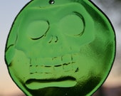 Custom Order for Howard Day of the Dead Suncatcher Green Glass