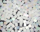 Mini White Iridescent Stained Glass Mosaic Tiles