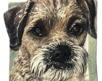 Border Terrier CERAMIC Portrait Semi-Custom Made to Order Sculpture 3D Dog Art Tile Plaque FUNCTIONAL ART by Sondra Alexander In Stock