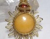 Hand hammered and woven Golden Quartz and Carnelian Sun pendant
