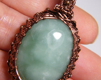 Peace Jade woven wire wrapped pendant