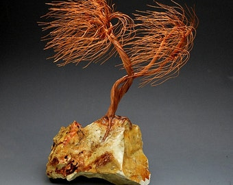Windswept  Copper wire tree sculpture -  2164  - FREE SHIPPING