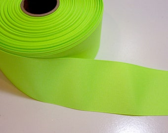 Wide Green Ribbon, Fluorescent Green Grosgrain Ribbon 2 1/4 inches wide x 10 yards