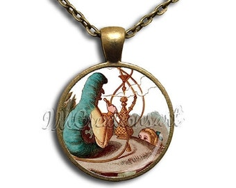 20% OFF - Alice In Wonderland Hooka Glass Dome Pendant or with Chain Link Necklace AW107