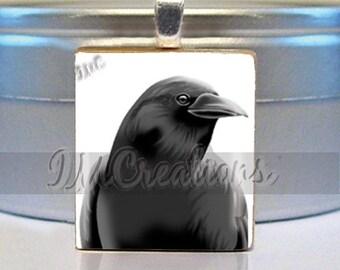 60% OFF CLEARANCE Scrabble Tile Pendants - Black Crow Bird (AM099)