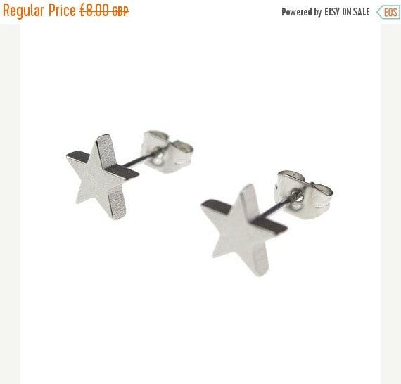 Silver Stainless Steel Star Stud Earrings