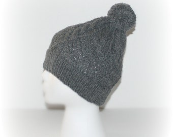 Hand Knit Hat, Knit Hat Beanie, Wool Bland Slouchy Hat, Women Knit Hat, Light gray Hat