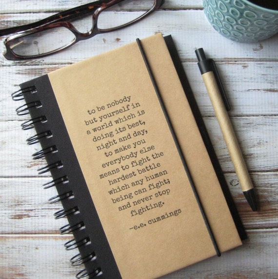 College Student Gift Journal Blank Notebook Brother Gift for Teens Writing Journal Diary Inspirational Quote Journal ee cummings 101