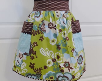 Womens Half Apron Retro Chic Kitchen Cooking Waist Aprons with Pockets