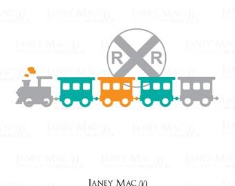 Train Wall Decal - Vinyl Railroad Sign with Train - Boy Children's Bedroom Nursery Vinyl Wall Art Sticker - CB121A