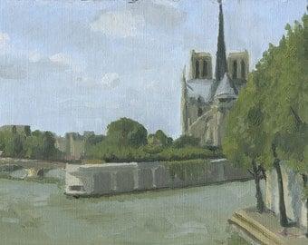 Notre Dame, Paris, France: Original Oil Painting Urban Plein Air Landscape