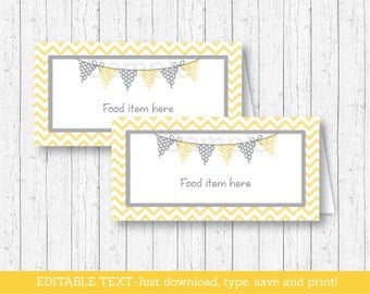 Chevron Tent Cards / Food Labels / Place Cards / Chevron Baby Shower / Chevron Pattern / Yellow & Grey / INSTANT DOWNLOAD Editable PDF