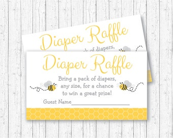 Bumble Bee Diaper Raffle Tickets / Bumble Bee Baby Shower / Bee Baby Shower / Yellow & Grey / Gender Neutral / INSTANT DOWNLOAD
