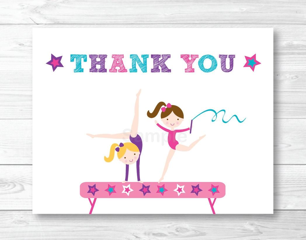 Girls Gymnastics Thank You Card / Folded Card Template