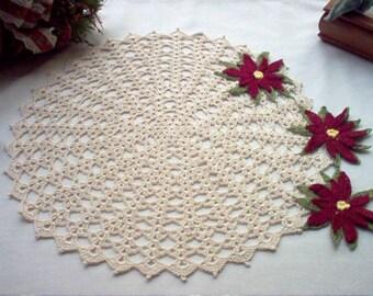 Victorian Burgundy Poinsettia N Lace Crochet Thread Art Doily New Handmade