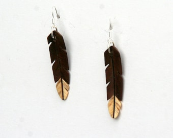 Handcarved Black Walnut and Spalted Hackberry  Wood  Leaf / feather  Earrings  J160303