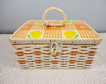 Vintage 1960's Singer Sewing Basket Woven in Orange with Handle
