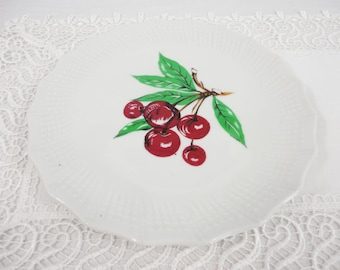 Vintage Cherry Plate with Textured Border