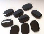 Large Octagonal Flat Black Onyx Vintage Beads