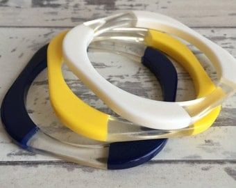 Vintage Lucite Bracelets Stacking Square Striped Yellow White Blue