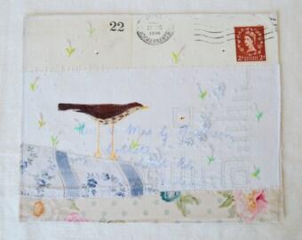 ARTWORK ORIGINAL : Mixed media - Hand embroidered 1950's envelope - Hand painted Thrush