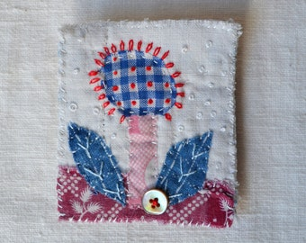 BROOCH Textile appliqued flower - Folk style - hand stitched