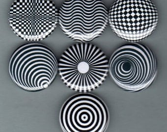 OP ART 7 one inch pinback/badges/buttons   trippy mod psychedelic patterns far out