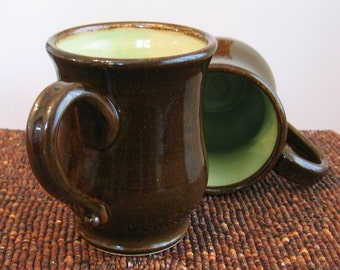 Large Coffee Mugs - Handmade Stoneware Pottery Cups in Chocolate / Pear Green - Set of 2