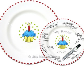 11 inch Ready to Ship - Hand Painted Signature Birthday Plate- Bright Cupcake Design