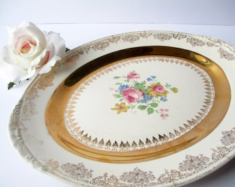 Vintage Homer Laughlin Serving Platter Gold Floral  - Weddings Bridal Showers