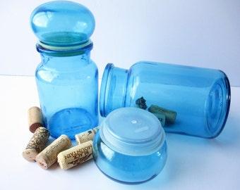 Vintage Blue Belgium Apothecary Jars Set of Two - Retro