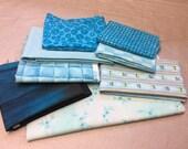 Fabric Pieces of Aqua Colors