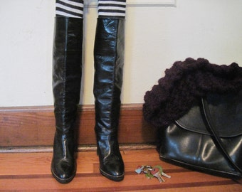 size 7, vintage 1980s Knee-High Boots with high heels - black leather, stacked heel, eighties, glam, rocker, 37 1/2