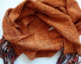 curry orange chenille handwoven scarf
