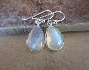 Moonstone Earrings, Sterling Silver, Rainbow Moonstone, White Earrings, Iridescent, Drop, Teardrop, Irisjewelrydesign