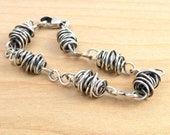 Reserved for LG - Sterling Silver Wire Bracelet, Infinity Links, Handmade Chain, Boho Layering Bracelet, Thick Twisty Bracelet #4641